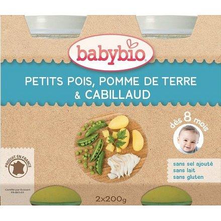 BABYBIO hrášek a brambory s treskou 2x200g