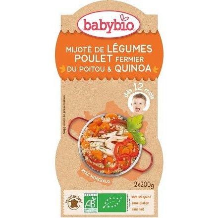 BABYBIO zelenina s kuřetem a quinoa 2x200g