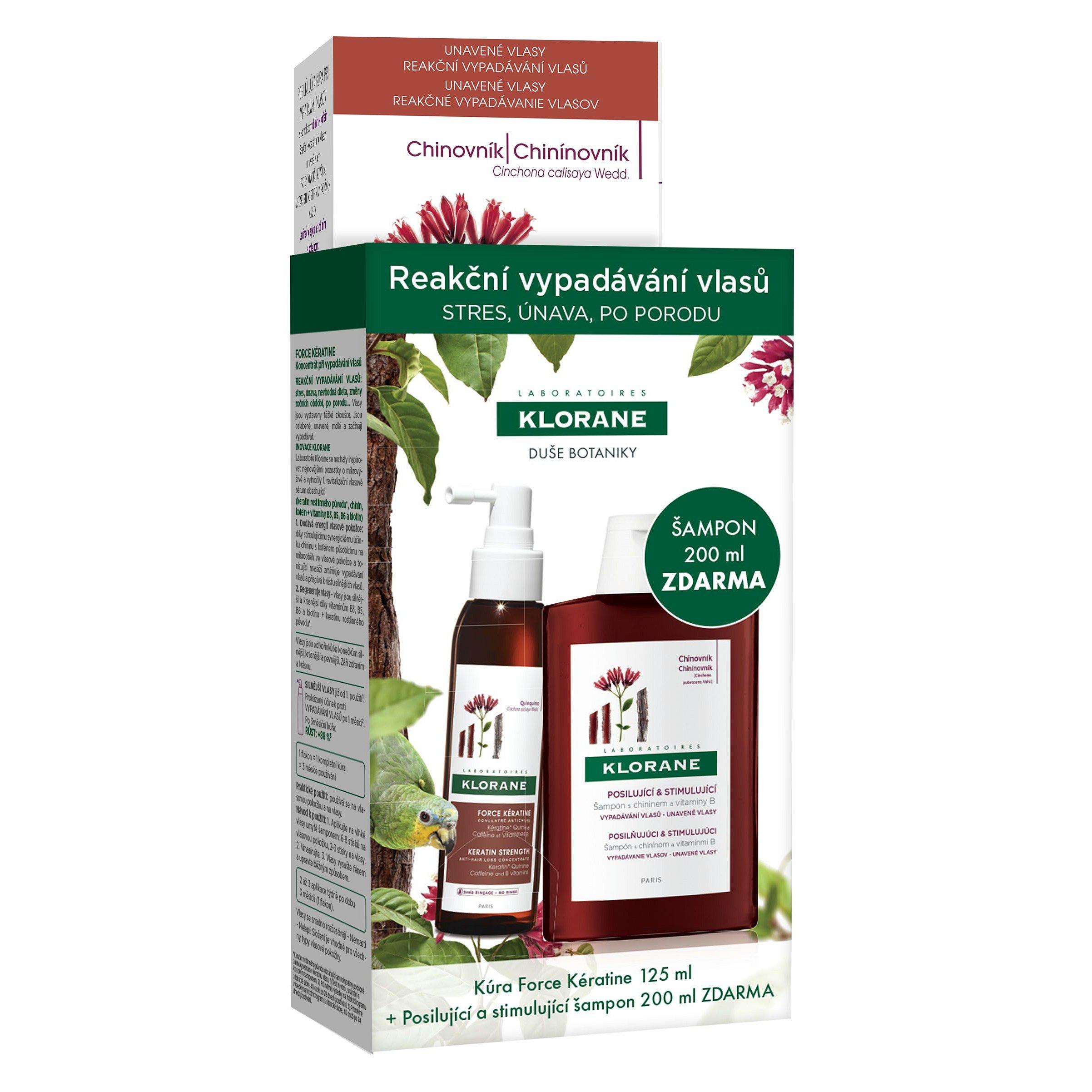 KLORANE Reakční vypadávání vlasů Force Kératine 125 ml + Šampon s chininem 200 ml
