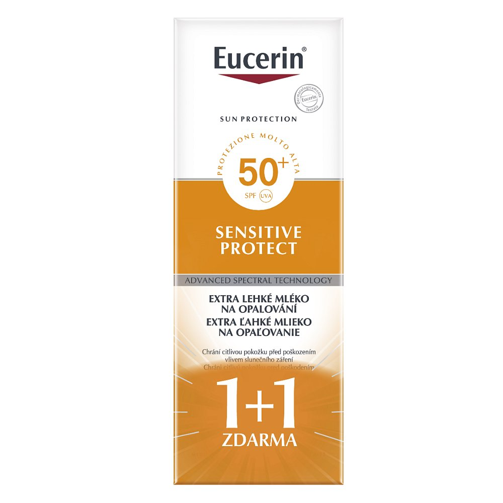 EUCERIN SUN  Extra lehké mléko na opalování Sensitive Protect SPF 50+ 2x150 ml (1+1 zdarma), poškozený obal