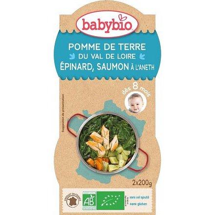 BABYBIO brambory a špenát s lososem a rýží 2x200g