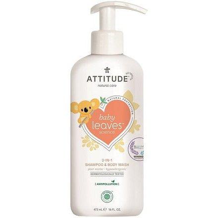 Dětské tělové mýdlo a šampon (2 v 1) ATTITUDE Baby leaves s vůní hruškové šťávy 473 ml