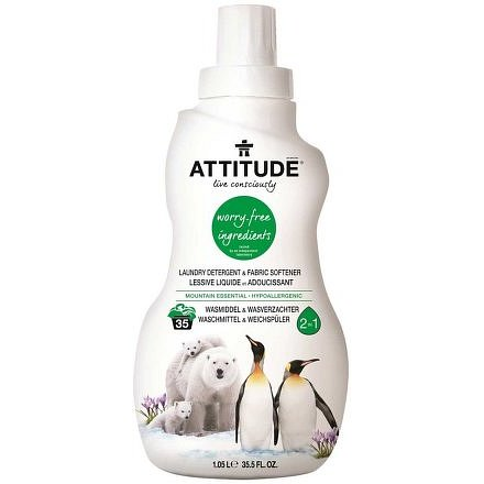 Prací gel a aviváž (2 v 1) ATTITUDE s vůní Mountain Essentials 1050 ml