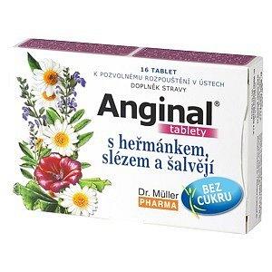 Anginal tablety s heřmánkem+slézem tablety 16