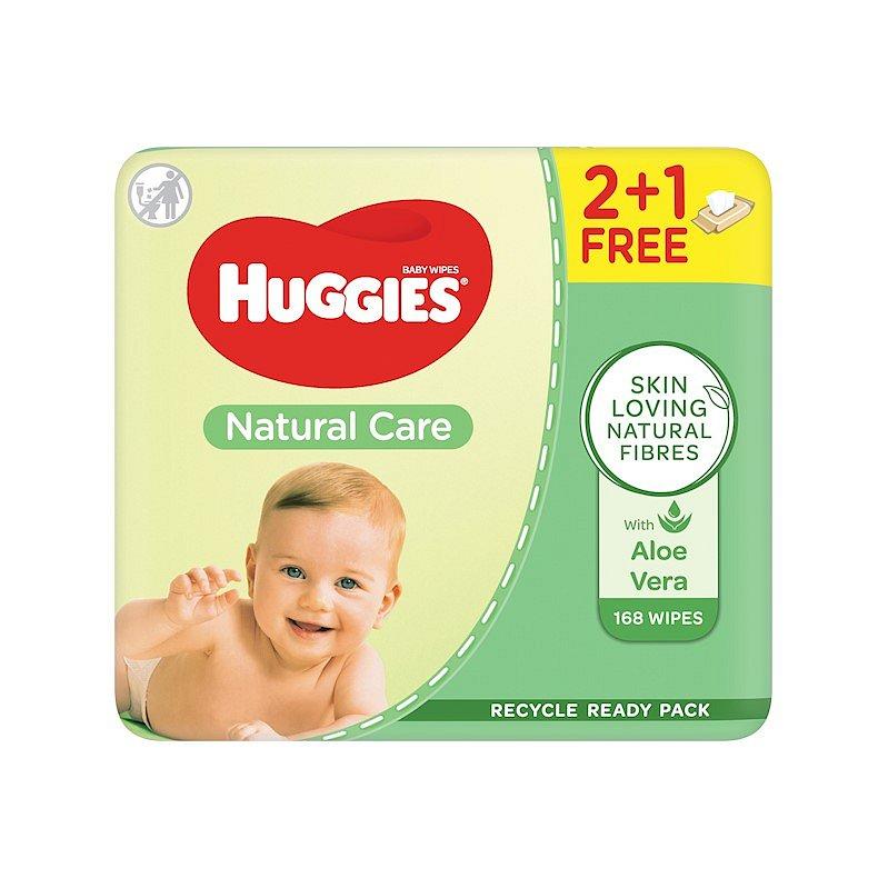 HUGGIES® Vlhčené ubrousky Natural Triplo 56x3 ks
