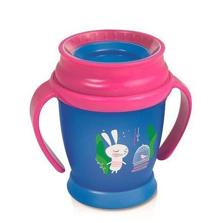 Hrníček LOVI 360 MINI 210ml s úchyty bez BPA RABBIT růžový