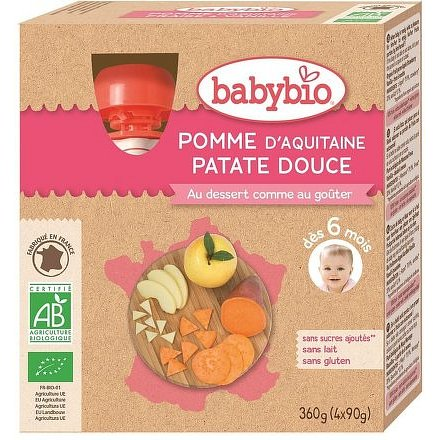 BABYBIO jablko sladké brambory 4x90g