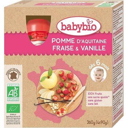 BABYBIO jablko s jahodami a vanilkou 4x90g
