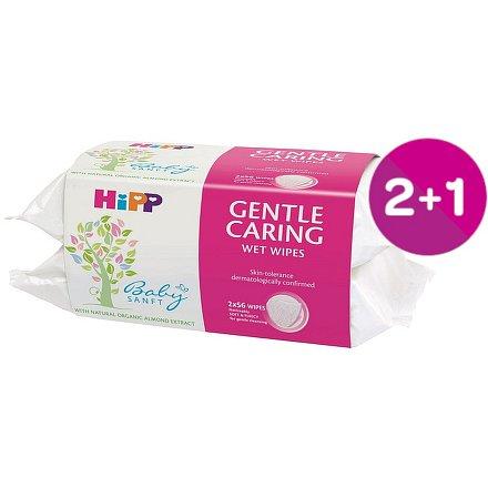HiPP BABYSANFT Dětské čistící vlhčené ubrousky 2 x 56ks 2+1 ZDARMA*
