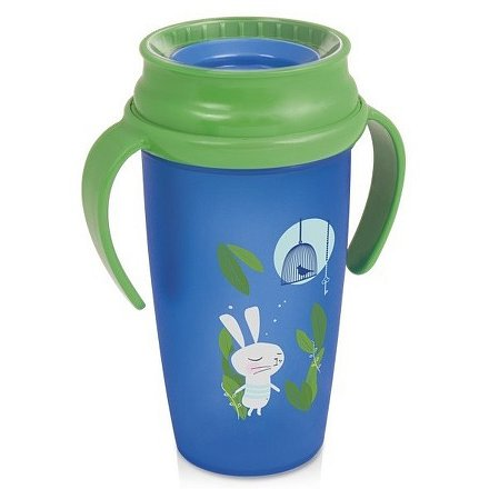 Hrníček LOVI 360 ACTIVE 350ml bez BPA RABBIT zelený