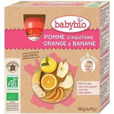 BABYBIO jablko pomeranč banán 4x90g