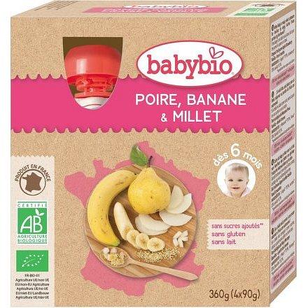 BABYBIO hruška s banánem a prosem 4x90g