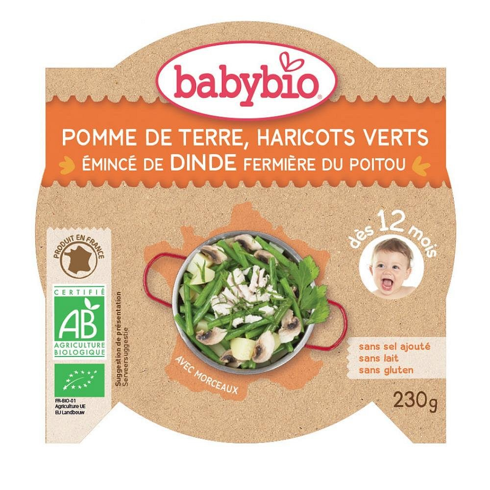 BABYBIO Denní menu Brambory a fazolkami a krůtími plátky 230 g