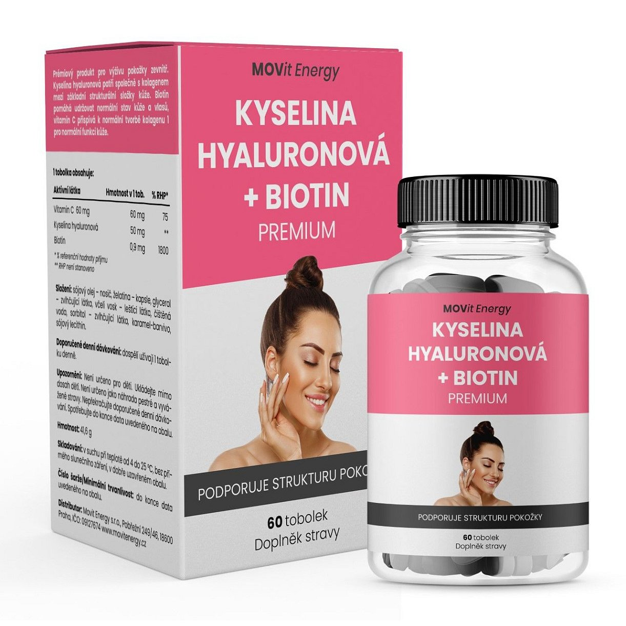 MOVit Energy Kyselina hyaluronová + Biotin PREMIUM 60 tobolek