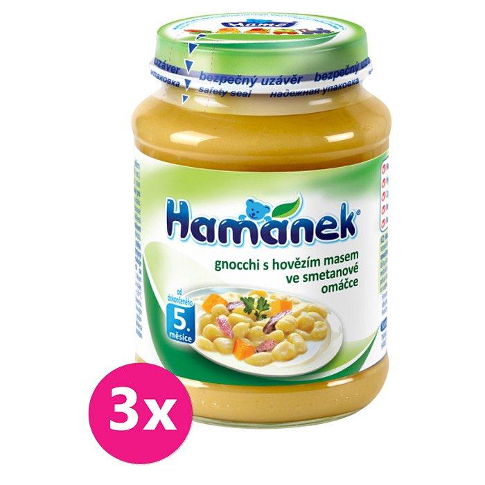 3x HAMÁNEK Gnocchi s hovězím masem ve smetanové omáčce (190g) – maso-zeleninový příkrm