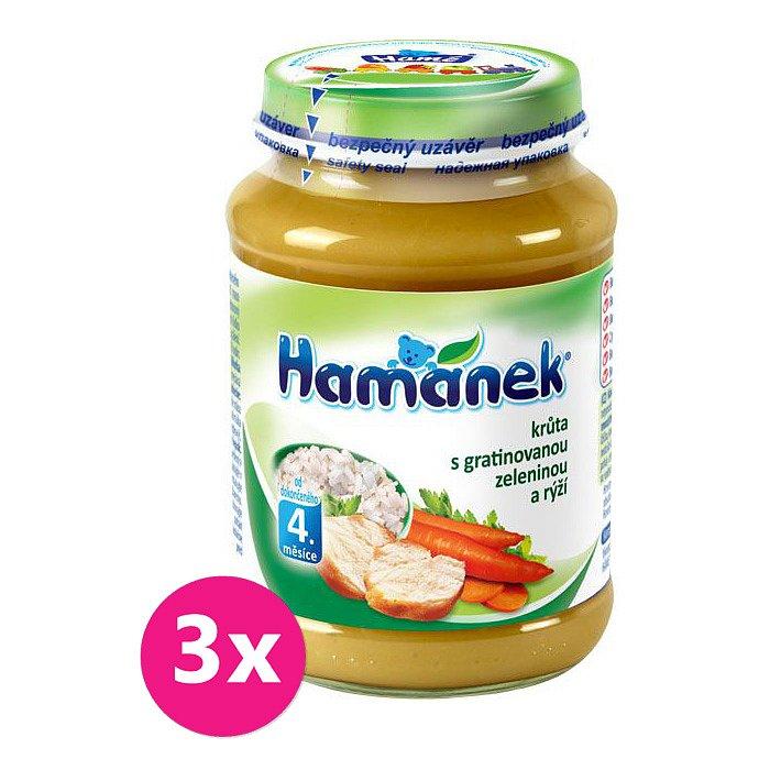 3x HAMÁNEK Krůta s gratinovanou zeleninou a rýží (190 g) - maso-zeleninový příkrm