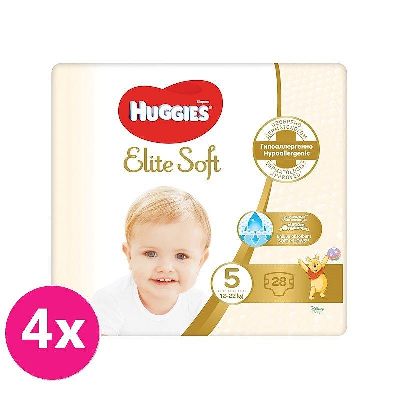 4x HUGGIES Jednorázové pleny Elite Soft vel. 5, 28 ks