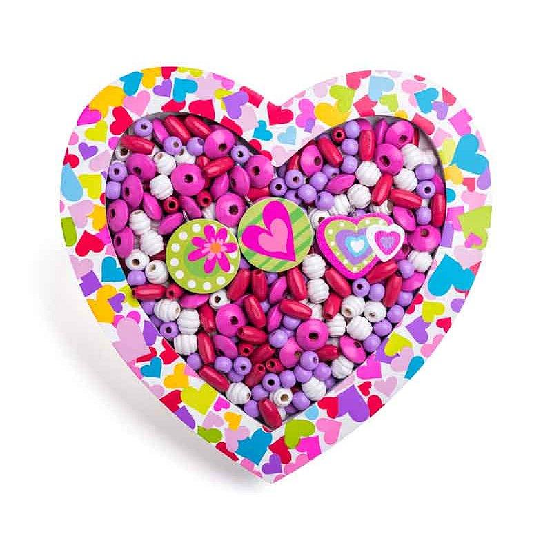 WOODY Korálky navlékací - Srdce