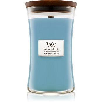 Woodwick Sea Salt & Cotton vonná svíčka 609,5 g s dřevěným knotem