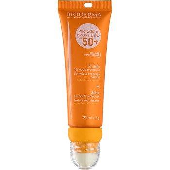 Bioderma Photoderm Bronz DUO ochranný fluid na obličej a balzám na rty SPF 50+ 20 ml + 2 g