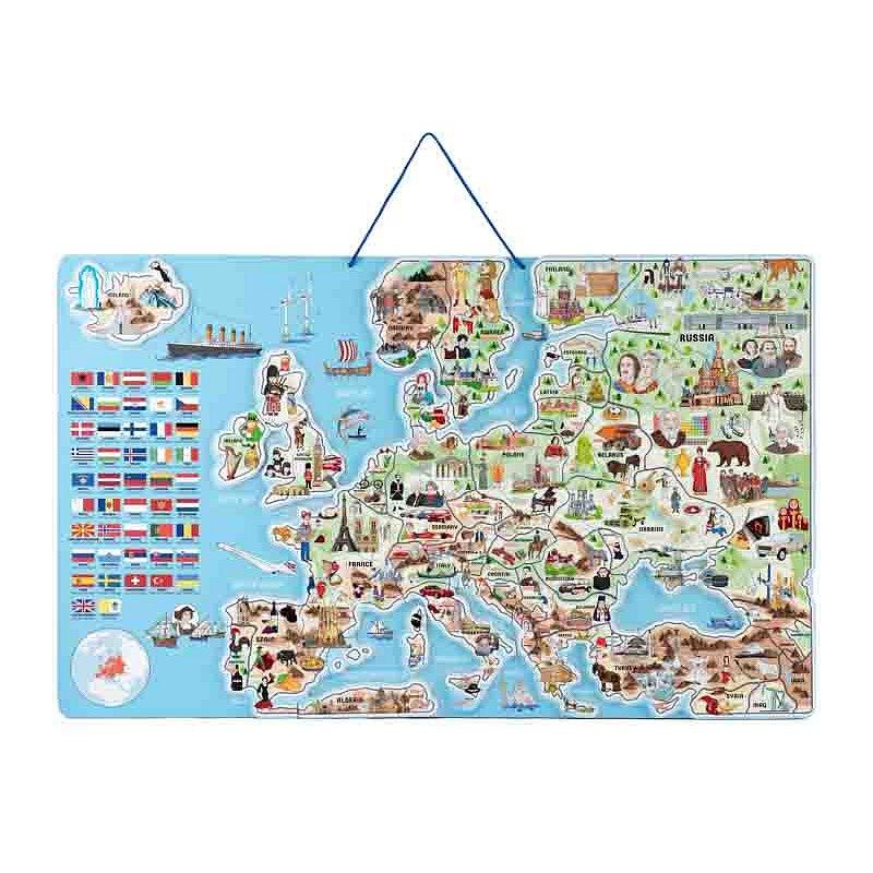 WOODY Mapa magnetická EVROPY, společenská hra 3 v 1 v AJ