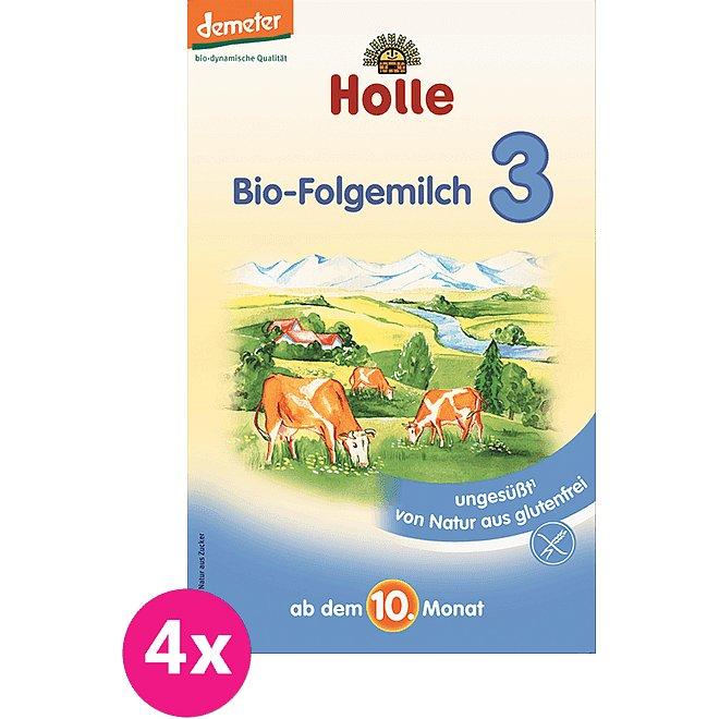 4x HOLLE Bio Pokračovací mléčná kojenecká výživa 3, 600 g