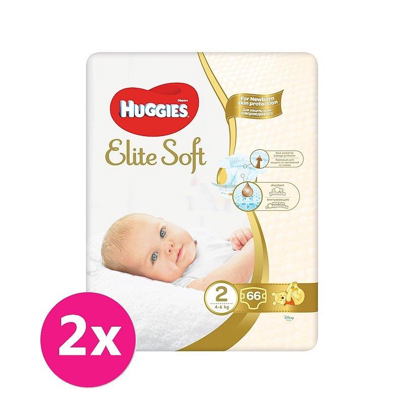 2x HUGGIES Jednorázové pleny Elite Soft vel. 2, 66 ks