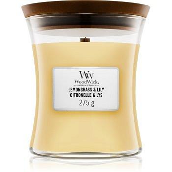 Woodwick Lemongrass & Lily vonná svíčka 275 g s dřevěným knotem