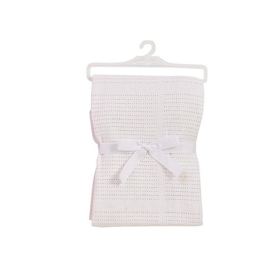 BABYDAN Dětská háčkovaná bavlněná deka bílá