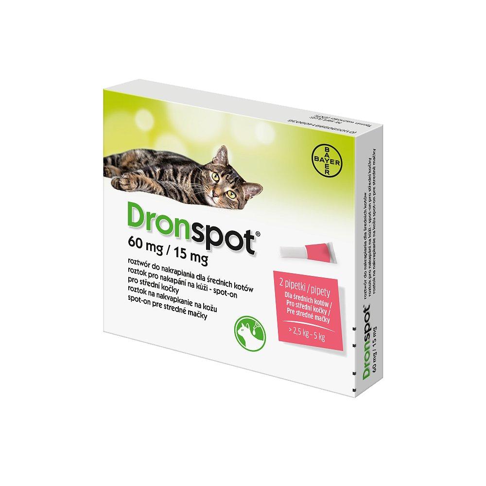 Dronspot 60 mg/15 mg pro střední kočky spot-on 2x0,7 ml