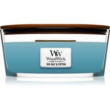 Woodwick Sea Salt & Cotton vonná svíčka s dřevěným knotem (hearthwick) 453,6 g