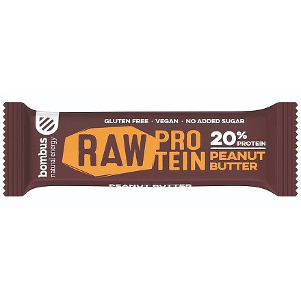 Bombus, tyčinka RAW protein 20%, peanut butter, 50 g