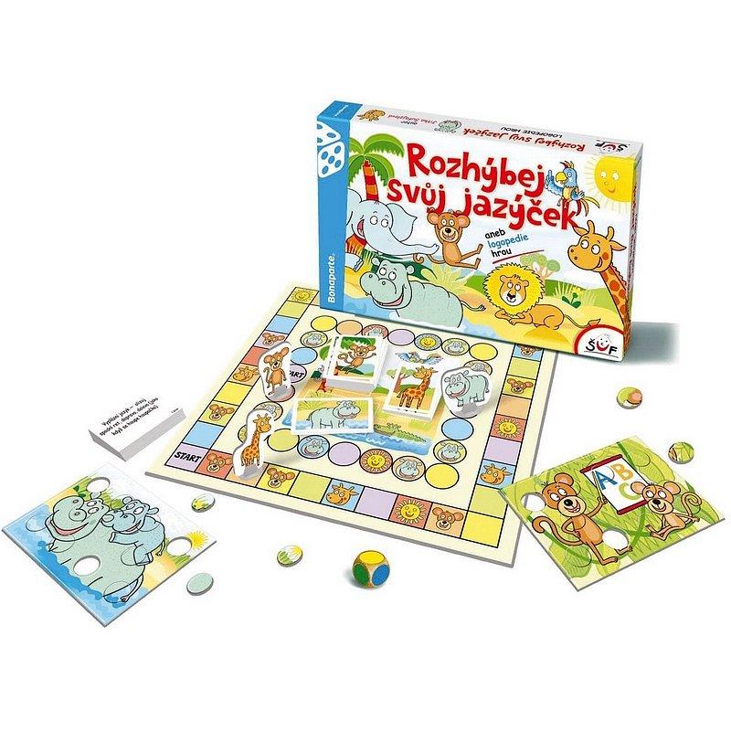 BONAPARTE Rozhýbej svůj jazýček verze CZ aneb logopedie hrou společenská hra v krabici 35 x 23 cm
