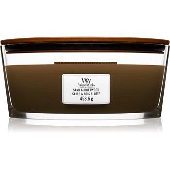 Woodwick Sand & Driftwood vonná svíčka s dřevěným knotem (hearthwick) 453,6 g