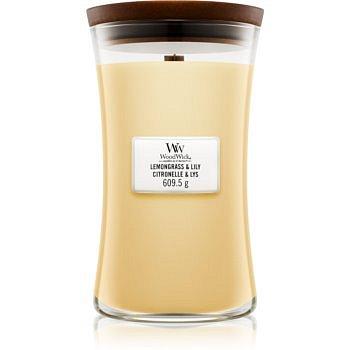 Woodwick Lemongrass & Lily vonná svíčka 609,5 g s dřevěným knotem