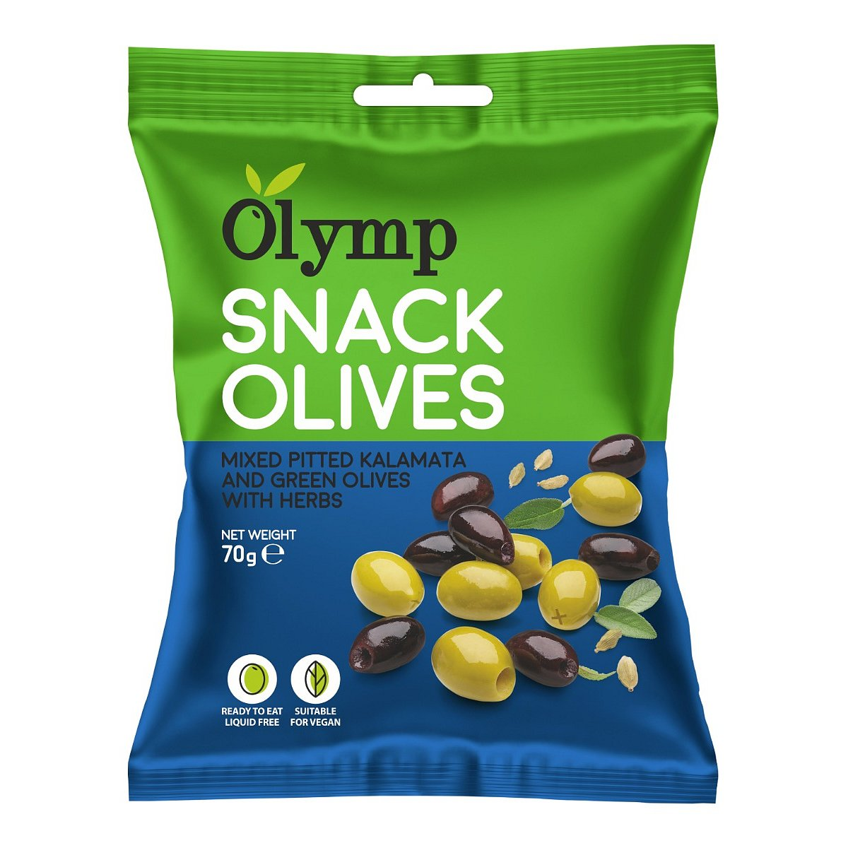 Olymp Mix Kalamata tmavé a zelené olivy bez pecky s bylinkami 70 g