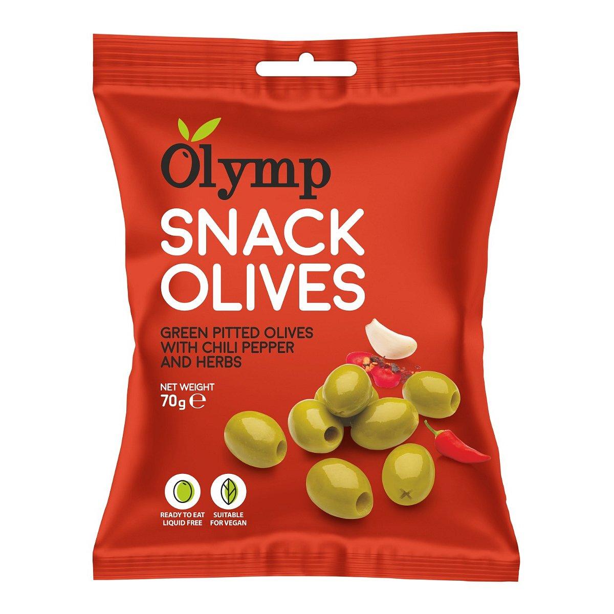 Olymp Zelené olivy bez pecky s chilli papričkou a bylinkami 70 g