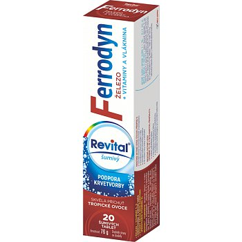 Revital Ferrodyn tablety šumivé 20 obsahuje železo a antioxidanty