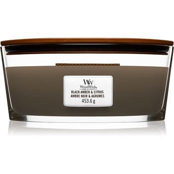 Woodwick Black Amber & Citrus vonná svíčka s dřevěným knotem (hearthwick) 453,6 g