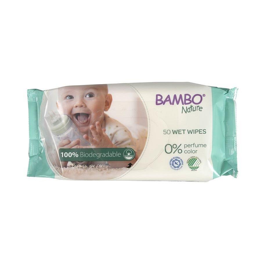 Bambo Nature Biodegradabilní vlhčené ubrousky 50 ks
