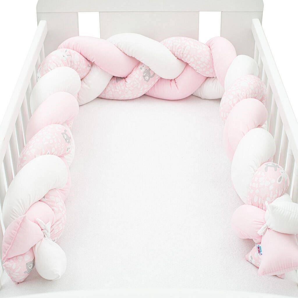 Ochranný mantinel do postýlky cop New Baby Králíčci růžový