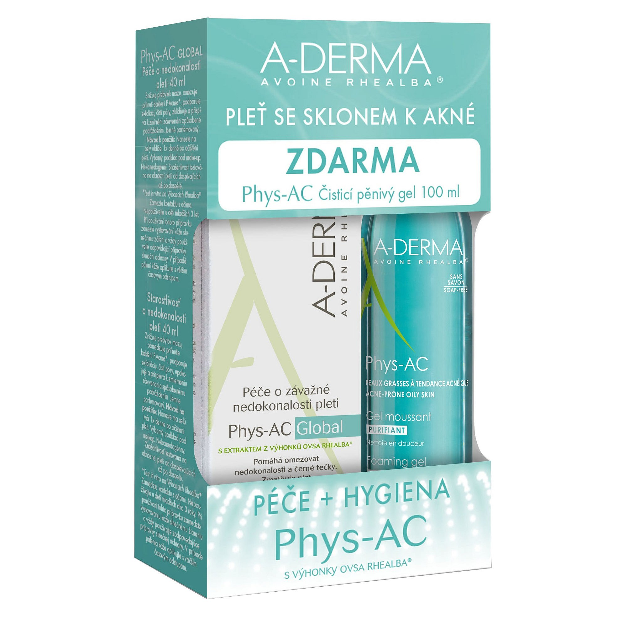 A-Derma Phys-AC Global 40ml + Čisticí gel 100ml
