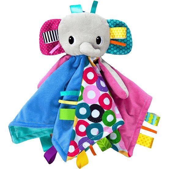 BRIGHT STARTS Dečka mazlící s hlavou Cuddle'n Tag slon 35x35cm, 0m+