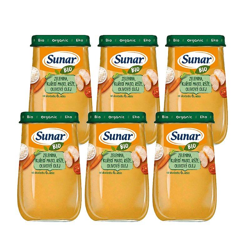 6x SUNAR BIO Zelenina, kuřecí maso, rýže, olivový olej 190 g