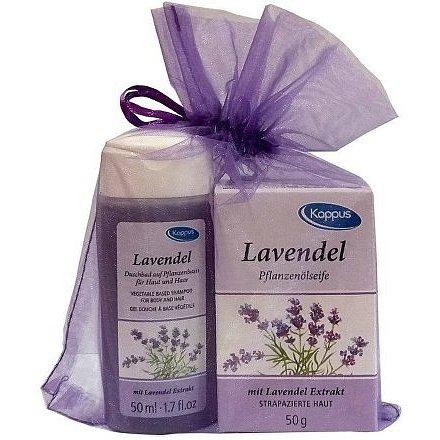 Kappus Dárkový balíček v organze Levandule (tělový šampon 50ml, tuhé mýdlo 50g)