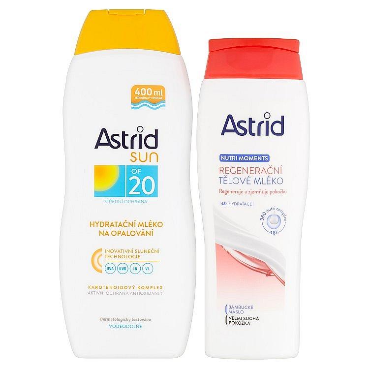 Astrid Sun hydratační mléko na opalování OF 20 + Nutri Moments regenerační tělové mléko  400 a 250 ml
