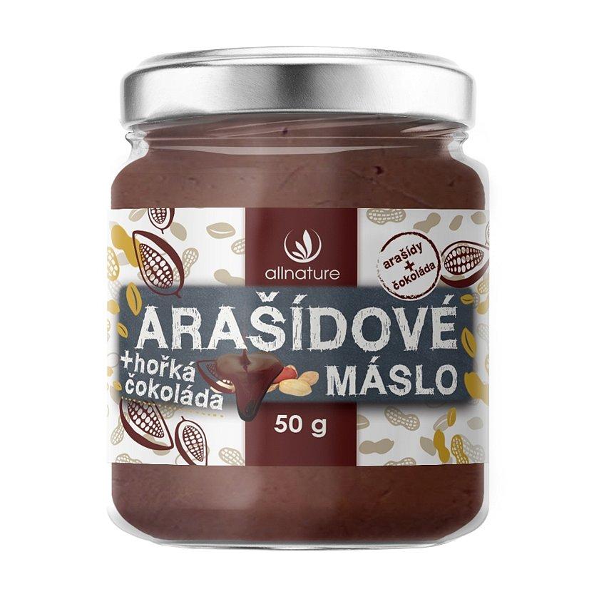 Allnature Arašídové máslo s hořkou čokoládou 50g