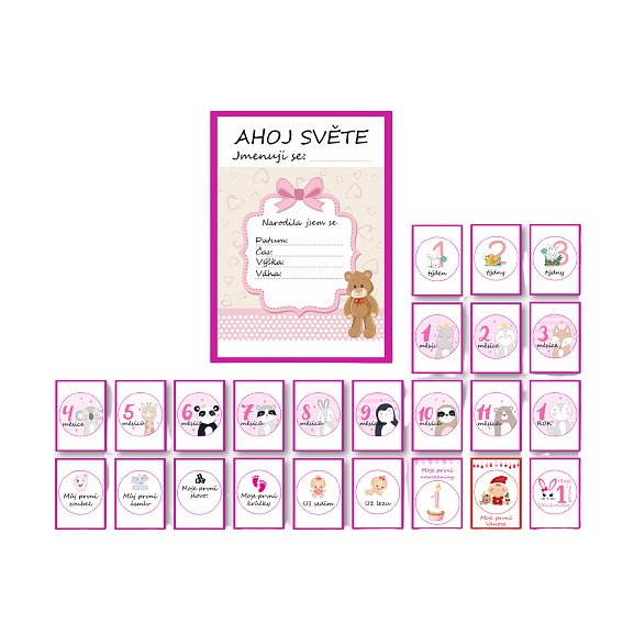 KidPro Milníkové kartičky Medvídek pro holčičku CZ