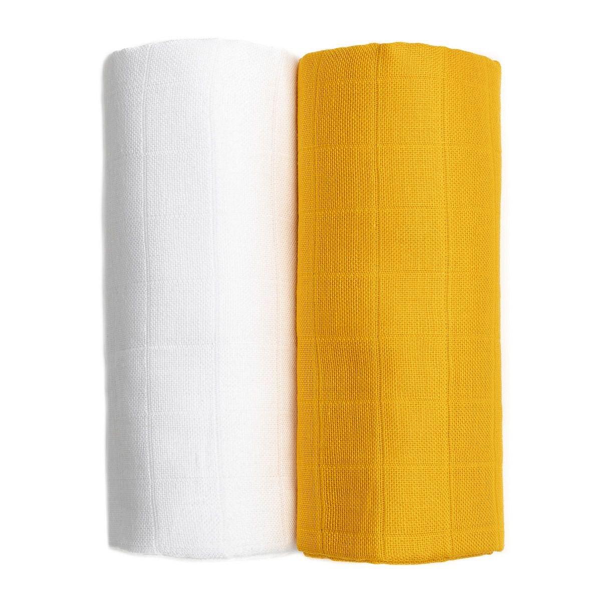 T-tomi Látkové TETRA osušky 2 ks white/mustard