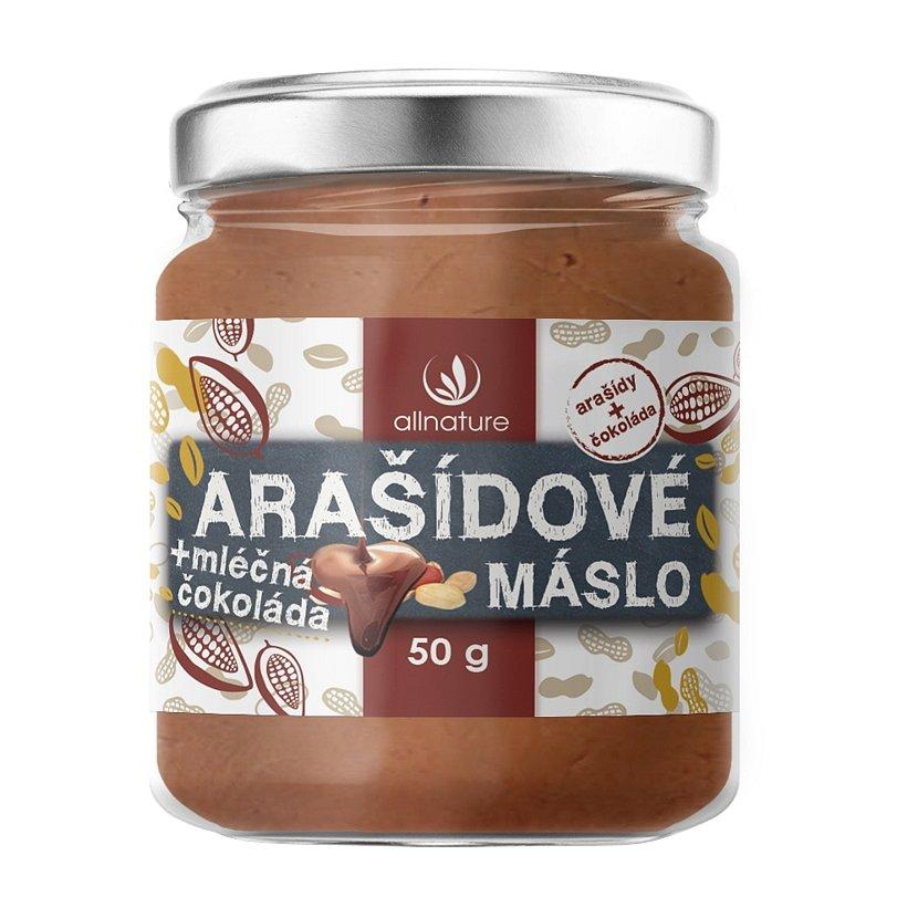 Allnature Arašídové máslo s mléčnou čokoládou 50g